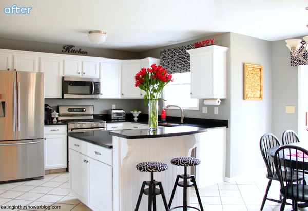 white red black kitchen makeover with black countertops | betterafter.net