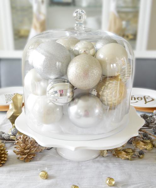 christmas bulbs on cake stand decoration
