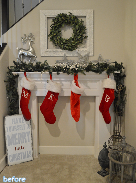christmas mantle makeover before