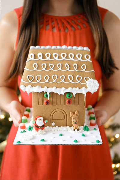 evite and M&Ms gingerbread house
