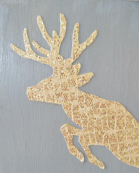 glitter deer art closeup