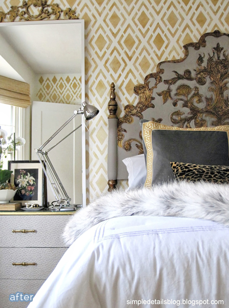 gold stenciled bedroom makeover  | betterafter.net