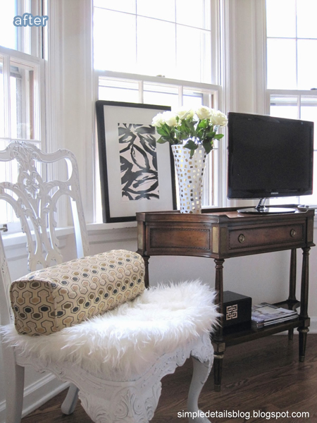 gold bedroom nook makeover with chair and console | betterafter.net