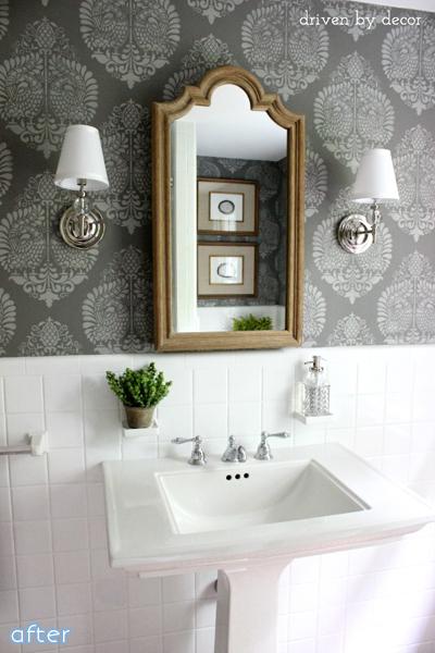 Gray Walls - White Tile - Bathroom - Makeover   betterafter.net