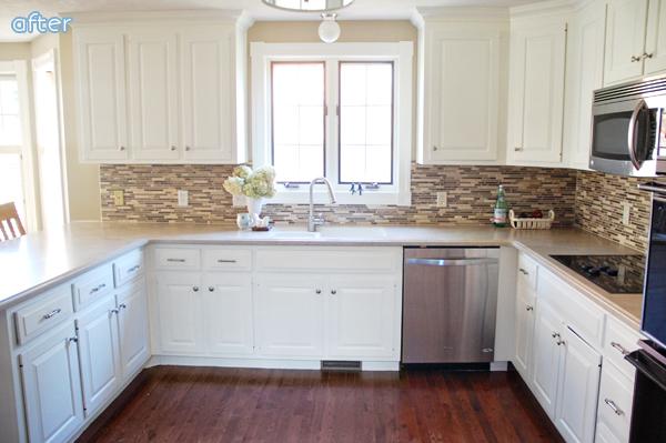 White - Kitchen - Brown - Backsplash - Makeover | betterafter.net