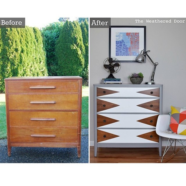 I have a big time crush on this dresser makeover!…