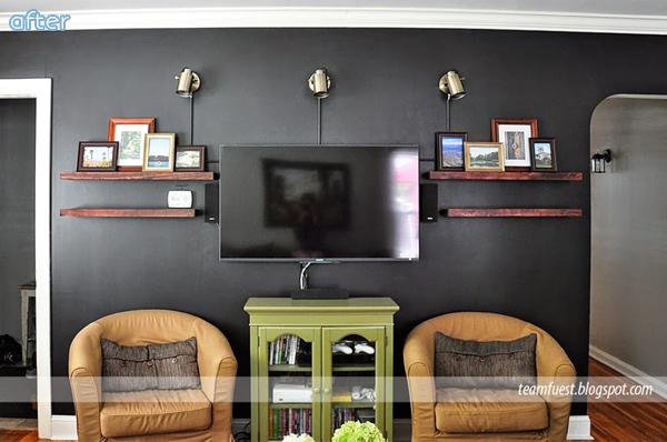 Living Room - Black TV Wall - Makeover | betterafter.net