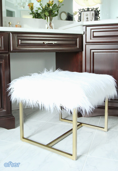 Faux Fur - Vanity Chair- Makeover |betterafter.net