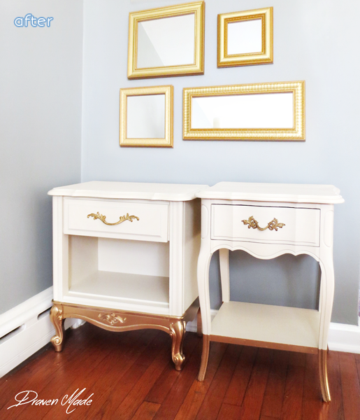 Gold - Dipped - White - Side Tables - Makeover | betterafter.net