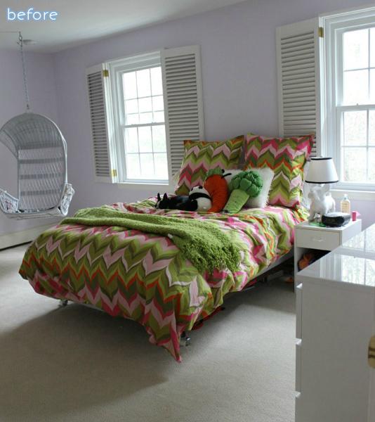 green - pink - tween - bedroom - before