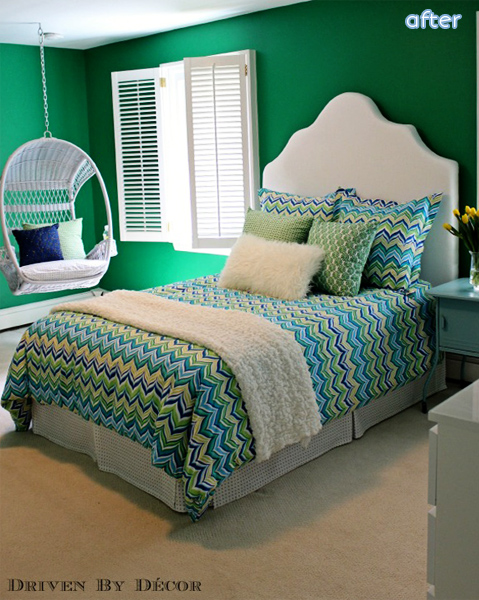 Green - Tween - Bedroom - Makeover  betterafter.net