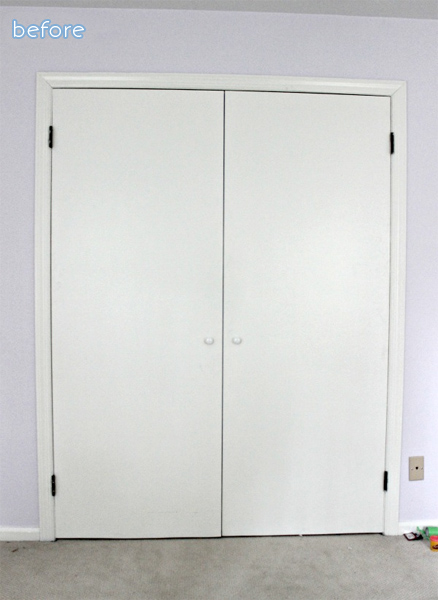 moulding makeover on plain closet doors