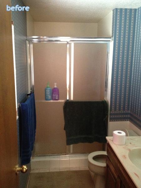 Tan - bathroom - before