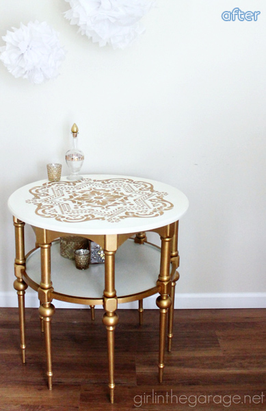White - Gold- Stenciled -Side Table - Makeover | betterafter.net