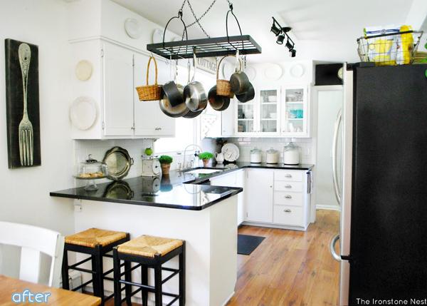 White - Kitchen - Black Countertops - Makeover | betterafter.net