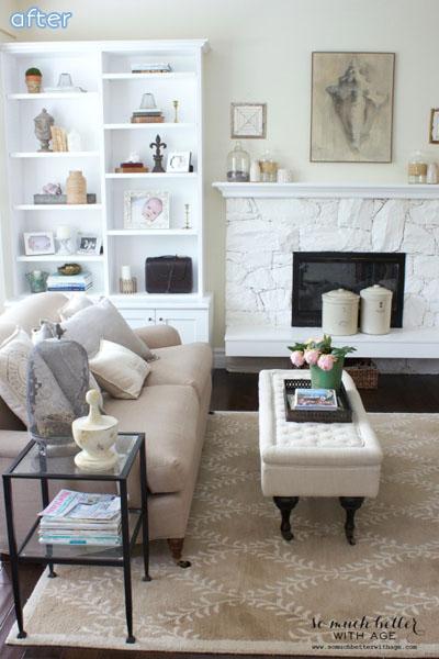 White - Fireplace - Living Room - Makeover  betterafter.net