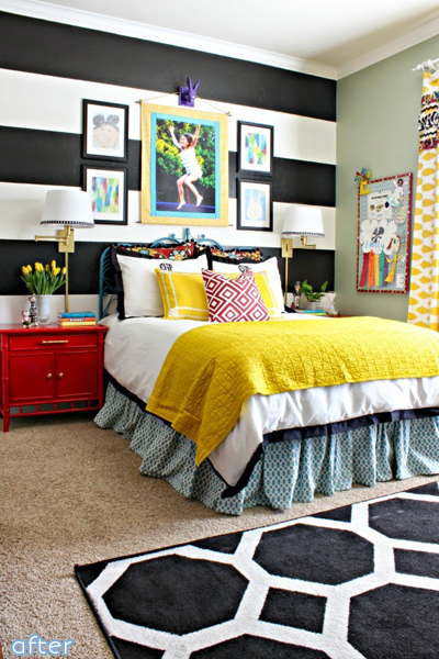 Black, White, Yellow Girl Bedroom Makeover | betterafter.net