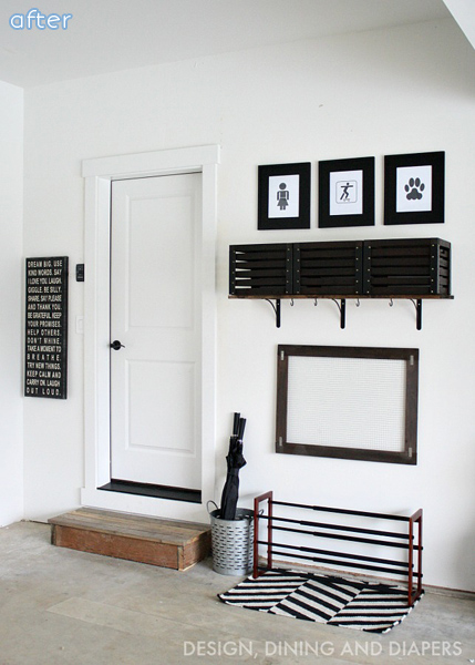 Black and White Mudroom Makeover | betterafter.net
