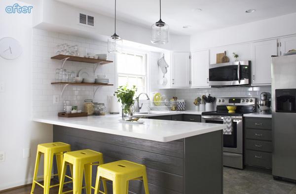 Light and Dark Kitchen with Open Shelves |betterafter.net