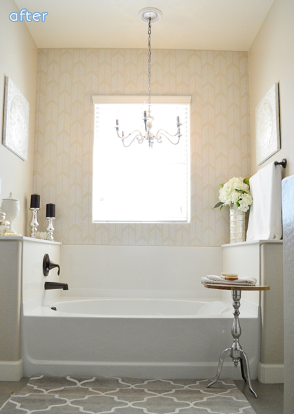 Bathroom makeover with stenciled wall  | betterafter.net