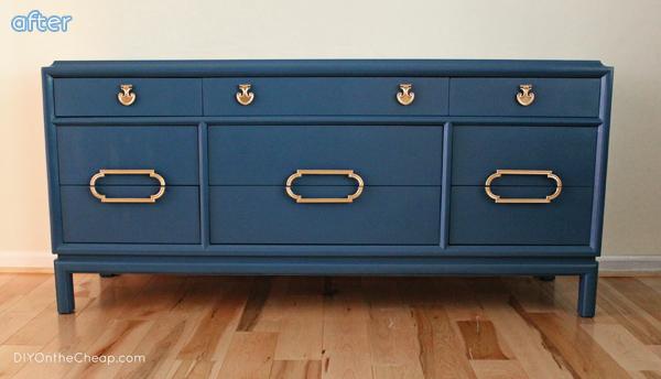 Blue Dresser Makeover with Gold | betterafter.net