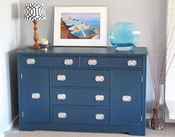 Blue Dresser Makeover with Silver| betterafter.net