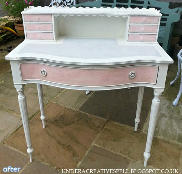 shabby chic pink and white desk makeover   betterafter.net