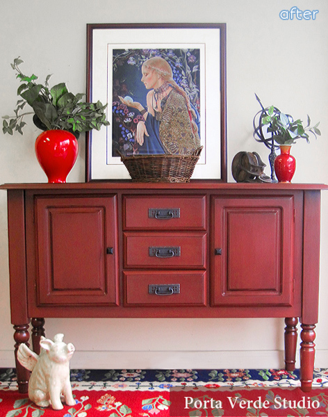 Rustic Red Makeover On A Country Bumpkin Buffet. | Betterafter.net