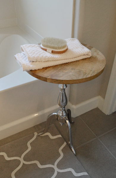 silver side table with wood top | betterafter.net