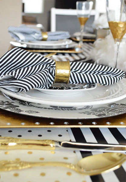 black gold and white tablescape