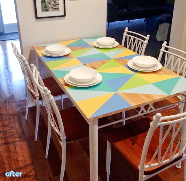 colorful triangle painted tabletop