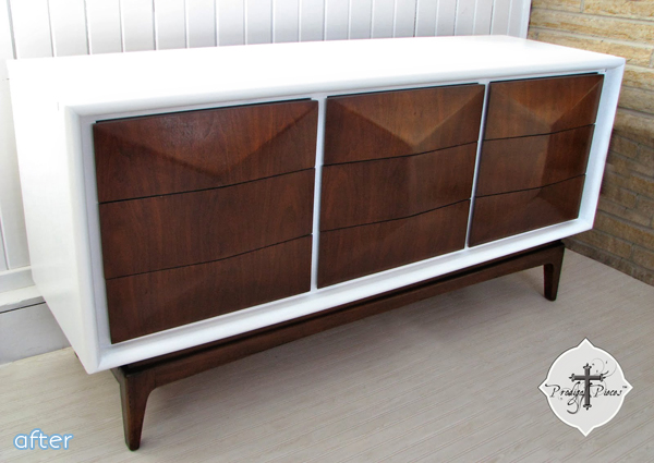 Mid-Century Wood and White Dresser Makeover | betterafter.net