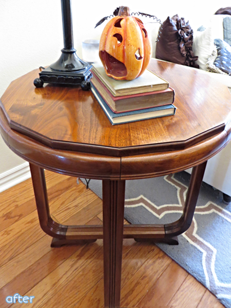 Walnut Stained End Table Makeover | betterafter.net