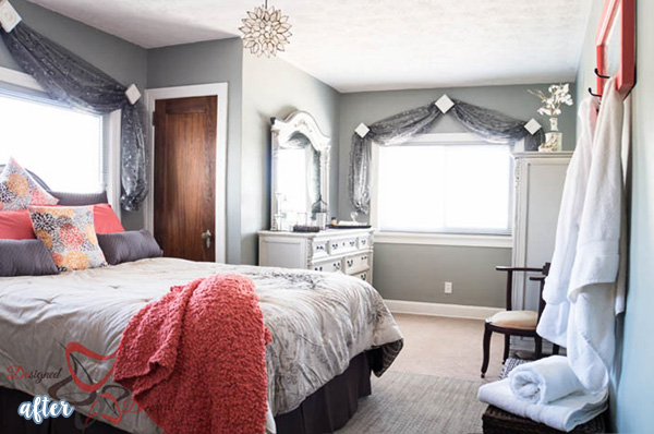 Gray And Coral Guest Bedroom Makeover | Betterafter.net