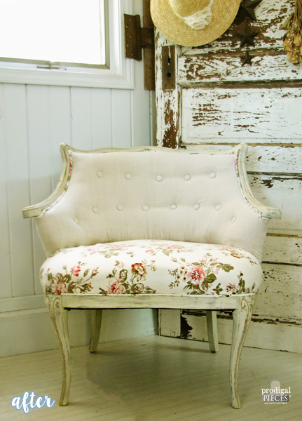 Linen and Floral Chair Makeover