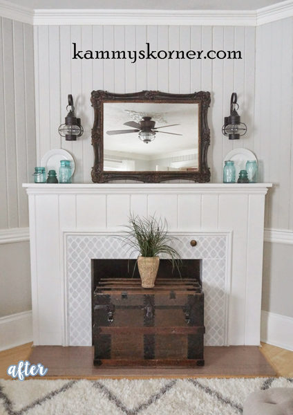 Stenciled Fireplace Makeover | betterafter.net