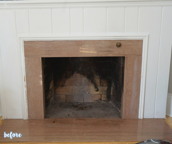 Stenciled Fireplace Before
