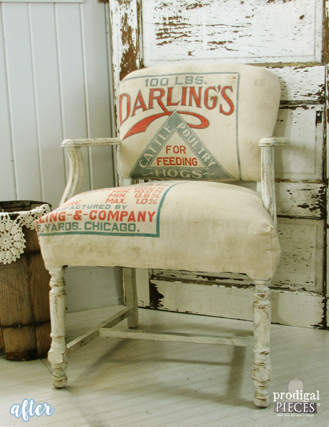 Vintage Feed Sack Chair
