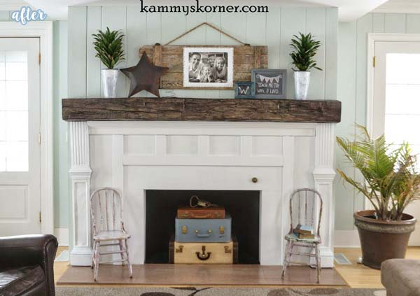 White Fireplace Mantle Makeover | betterafter.net