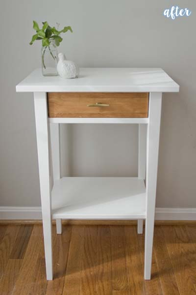 White and Wood Nightstand Makeover | betterafter.net