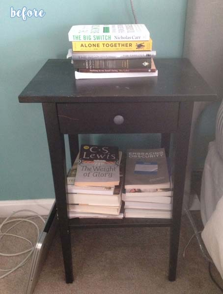 White and Wood Nightstand Before