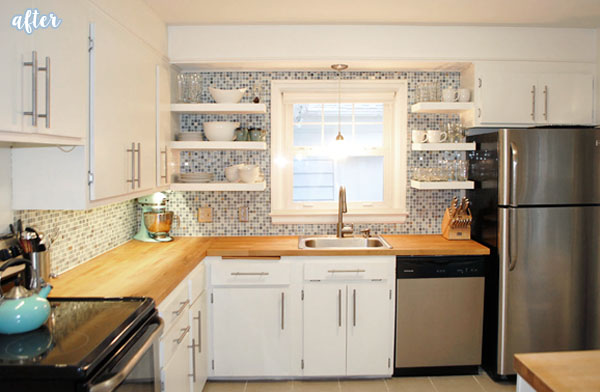open shelving kitchen makeover after