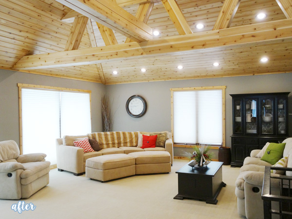 Wood Ceiling Living Room Makeover | betterafter.net