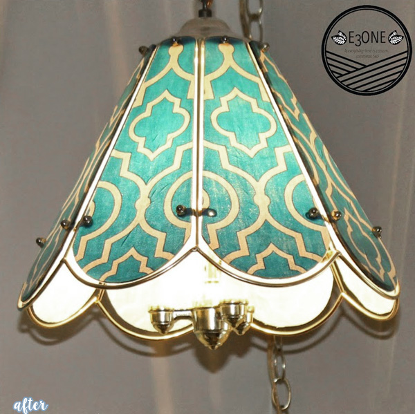 Aqua Mod-Podged Light Fixture Makeover | betterafter.net