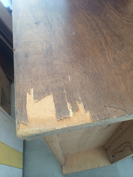 bookcase cracked veneer