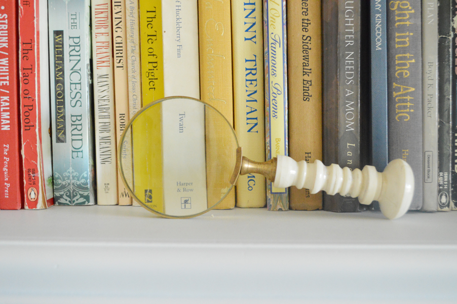 magnifying glass bookshelf decor