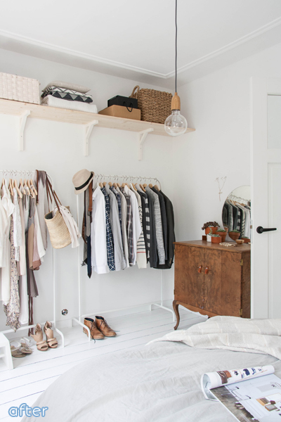 neutral bedroom makeover with open wardrobe