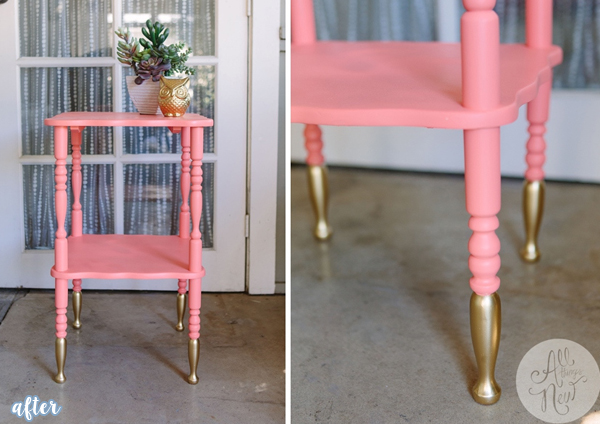 Pink Side-Table with Gold Dip Makeover | betterafter.net