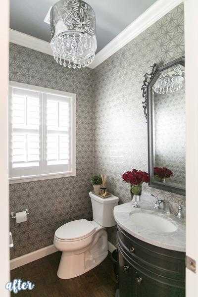 Nice Silver Wallpapered Powderroom Makeover