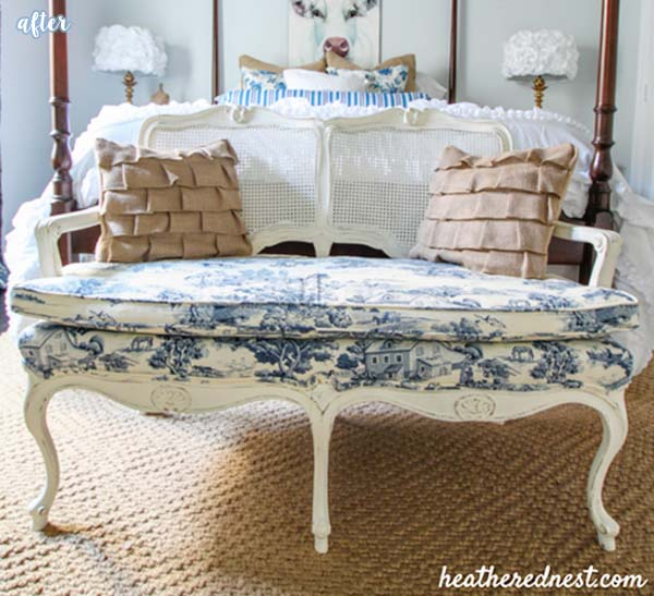 Blue and White Toile Settee Makeover | betterafter.net